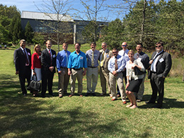 Reps. Bob Steinburg and Larry Yarbrough along with legislative staff join SWANC on a tour of stormwater devices at NCSU